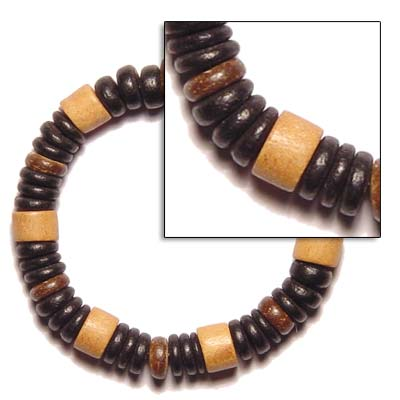 Elastic Wood And Coco Wooden Bracelets