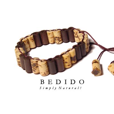 Natural Bamboo With Burning Wooden Bracelets