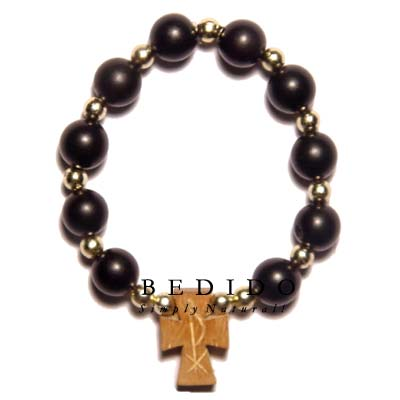 Black Buri Seeds/wood Beads Wooden Bracelets