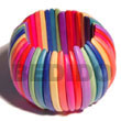 Wooden Bangles Elastic Multicolored Natural White Wooden Bangles Products - Cebujewelry.com